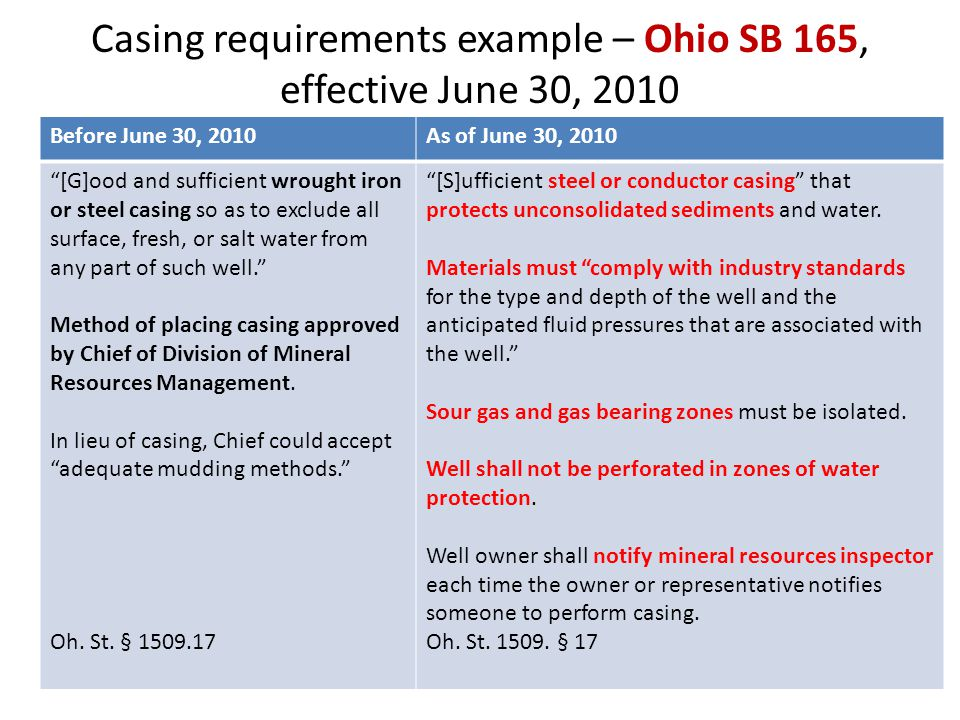 Casing requirements example – Ohio SB 165, effective June 30, 2010 Before June 30, 2010As of June 30, 2010 [G]ood and sufficient wrought iron or steel