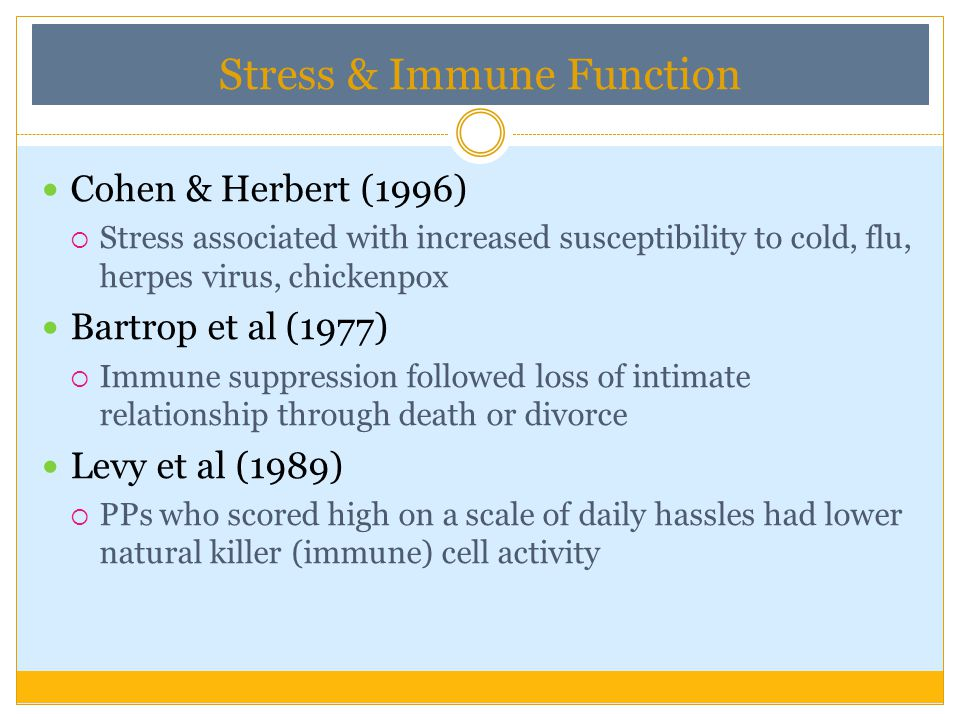 Immune system very complex & stress- response can affect it directly E.g.