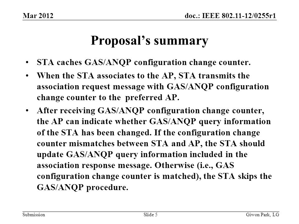 doc.: IEEE 802.11-12/0255r1 Submission Proposals summary STA caches GAS/ANQP configuration change counter. When the STA associates to the AP, STA tran