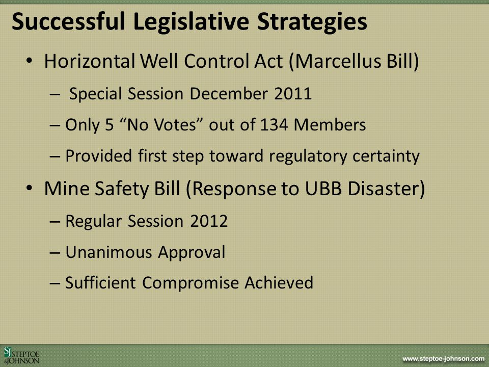 Successful Legislative Strategies Horizontal Well Control Act (Marcellus Bill) – Special Session December 2011 – Only 5 No Votes out of 134 Members –