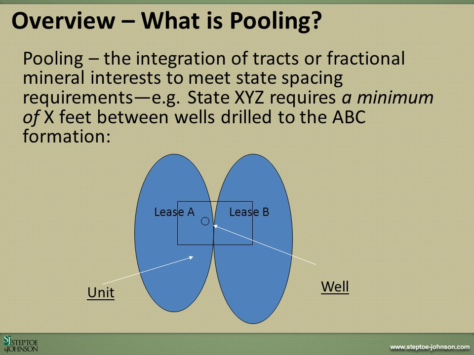 Pooling is the assembly of leases and pieces of leases to create a drillable site under state spacing laws, rules and regulations – NOTE: WV has NO spacing laws, rules and regulations THUS: There is NO pooling in West Virginia utilizing the standard, classical definition – BUT: Broadly used term anyway.