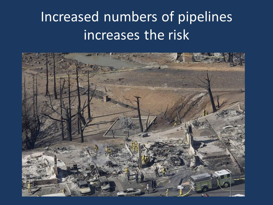 Increased numbers of pipelines increases the risk