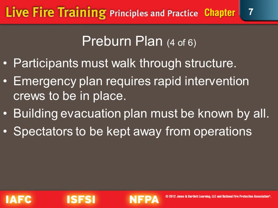 7 Preburn Plan (4 of 6) Participants must walk through structure.