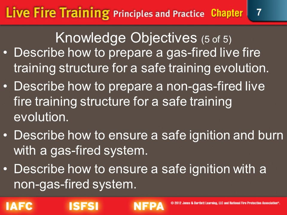 7 Knowledge Objectives (5 of 5) Describe how to prepare a gas-fired live fire training structure for a safe training evolution.