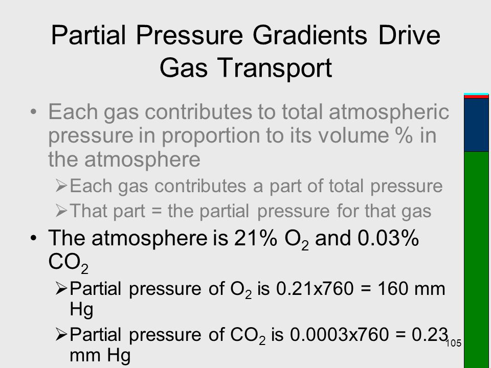 105 Partial Pressure Gradients Drive Gas Transport Each gas contributes to total atmospheric pressure in proportion to its volume % in the atmosphere
