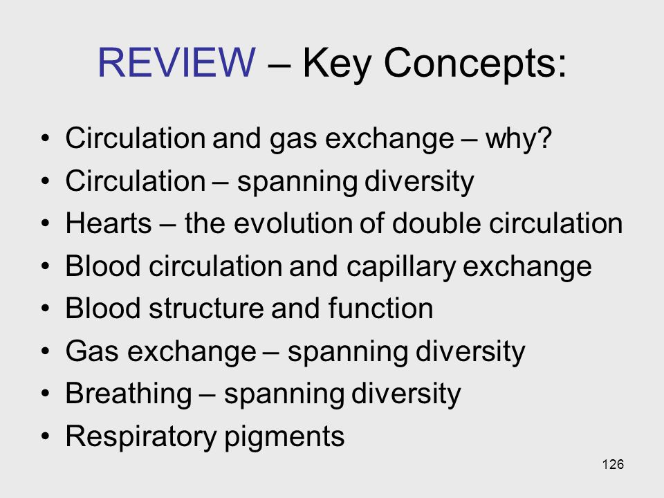 126 REVIEW – Key Concepts: Circulation and gas exchange – why? Circulation – spanning diversity Hearts – the evolution of double circulation Blood cir