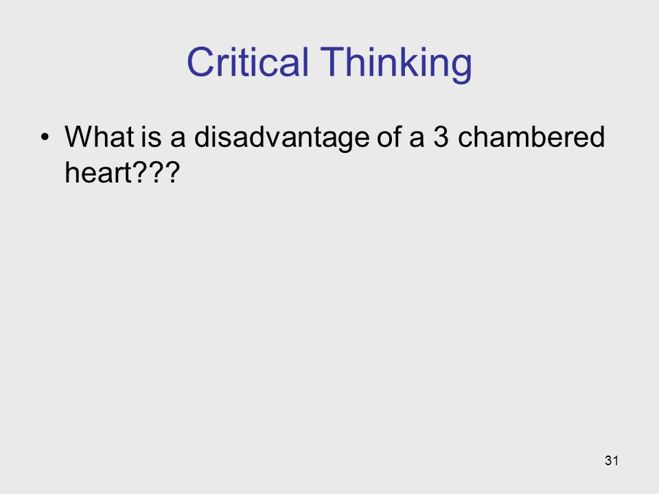 31 Critical Thinking What is a disadvantage of a 3 chambered heart???