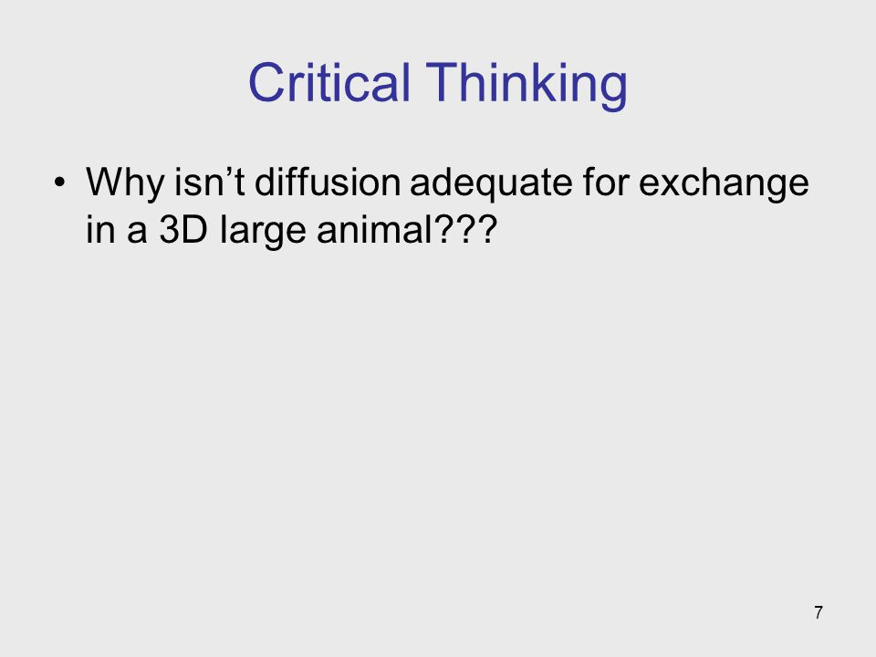 7 Critical Thinking Why isnt diffusion adequate for exchange in a 3D large animal???