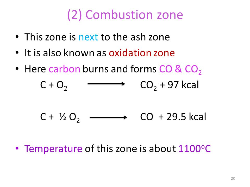 (2) Combustion zone This zone is next to the ash zone It is also known as oxidation zone Here carbon burns and forms CO & CO 2 C + O 2 CO 2 + 97 kcal