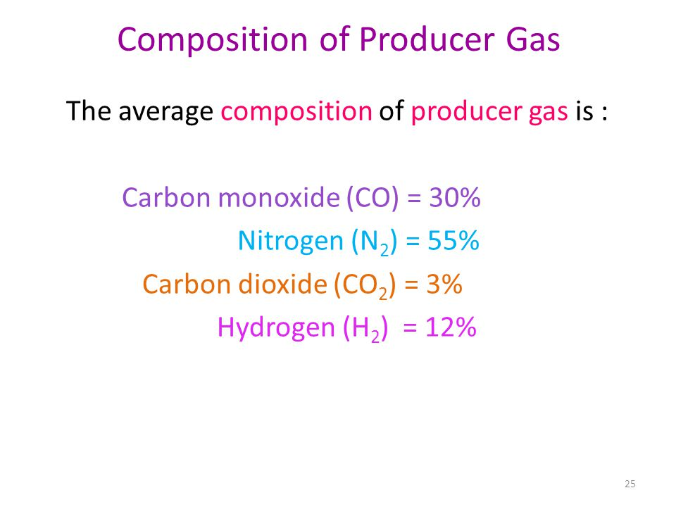 Composition of Producer Gas The average composition of producer gas is : Carbon monoxide (CO) = 30% Nitrogen (N 2 ) = 55% Carbon dioxide (CO 2 ) = 3%