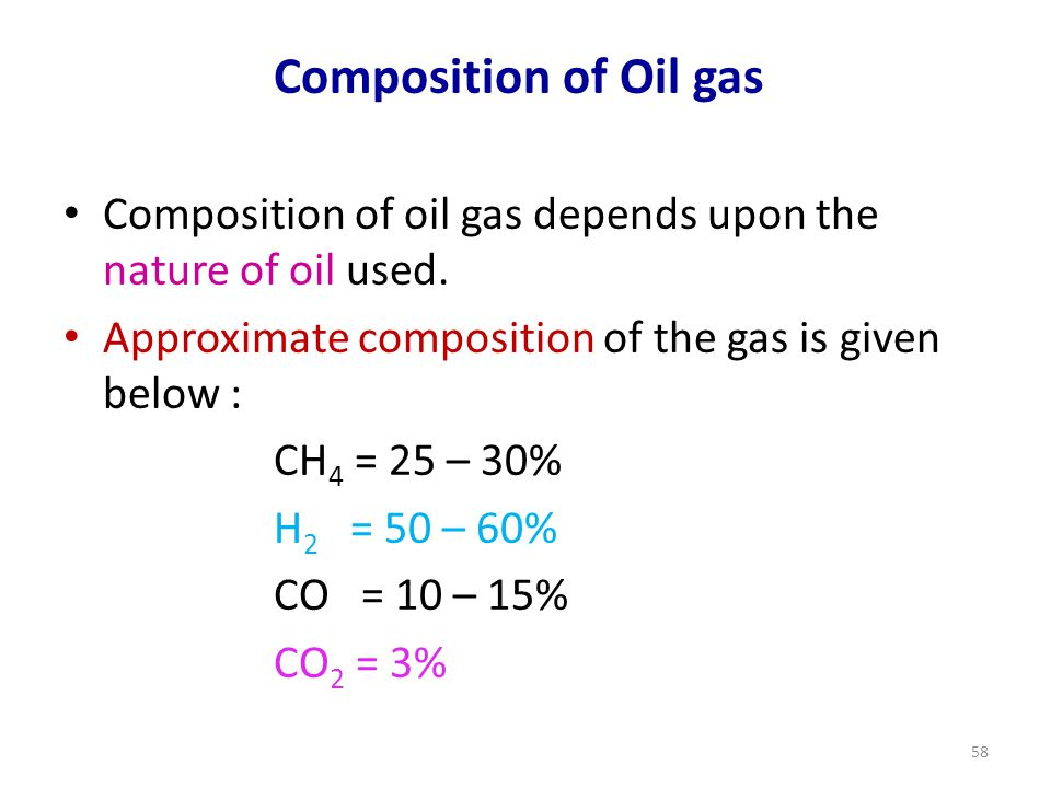 Composition of Oil gas Composition of oil gas depends upon the nature of oil used.