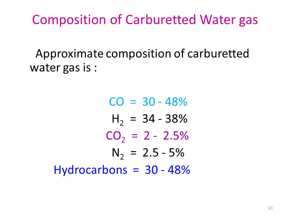 Composition of Carburetted Water gas Approximate composition of carburetted water gas is : CO = 30 - 48% H 2 = 34 - 38% CO 2 = 2 - 2.5% N 2 = 2.5 - 5% Hydrocarbons = 30 - 48% 63