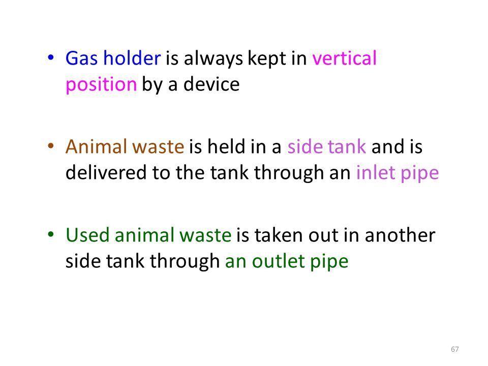 Gas holder is always kept in vertical position by a device Animal waste is held in a side tank and is delivered to the tank through an inlet pipe Used animal waste is taken out in another side tank through an outlet pipe 67