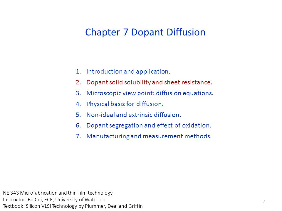 1.Introduction and application. 2.Dopant solid solubility and sheet resistance. 3.Microscopic view point: diffusion equations. 4.Physical basis for di