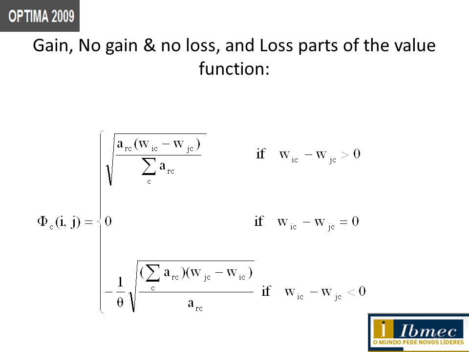 Gain, No gain & no loss, and Loss parts of the value function: 21