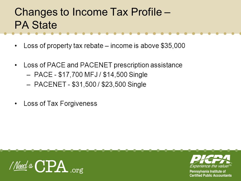 Changes to Income Tax Profile – PA State Loss of property tax rebate – income is above $35,000 Loss of PACE and PACENET prescription assistance –PACE