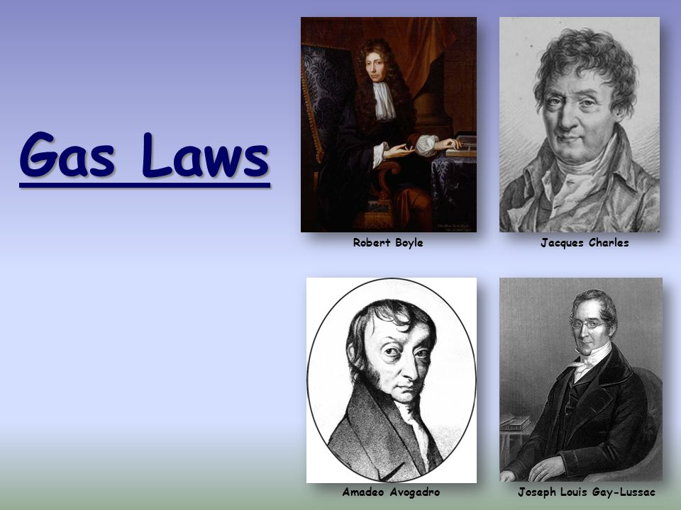 Gas Laws Joseph Louis Gay-LussacAmadeo Avogadro Robert BoyleJacques Charles