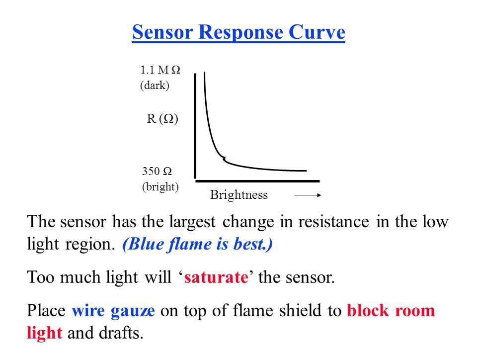 The sensor has the largest change in resistance in the low light region. (Blue flame is best.) Too much light will saturate the sensor. Place wire gau