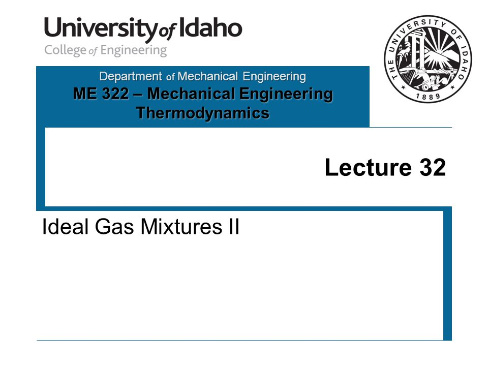 Department of Mechanical Engineering ME 322 – Mechanical Engineering Thermodynamics Lecture 32 Ideal Gas Mixtures II