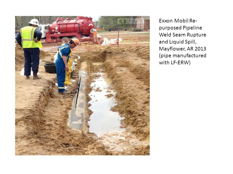 Exxon Mobil Re- purposed Pipeline Weld Seam Rupture and Liquid Spill, Mayflower, AR 2013 (pipe manufactured with LF-ERW)