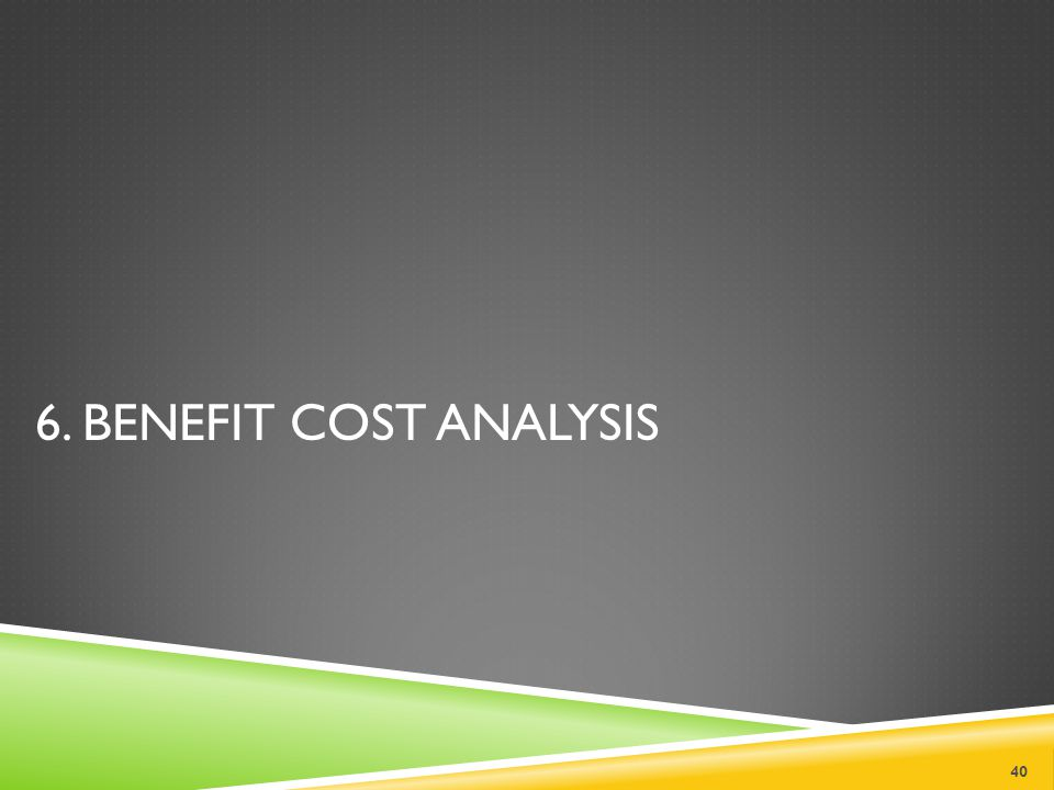 6. BENEFIT COST ANALYSIS 40