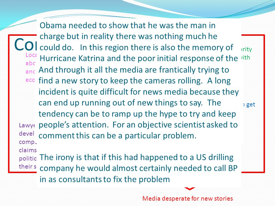 Conflict Media desperate for new stories President Obama – a man with authority but no power in this instance faced with mid-term elections Scientists trying to get reliable field data BP trying to stop spill under oversight of official US administration and manage PR with real time video coverage Local concerns about fishing and tourism i.e.