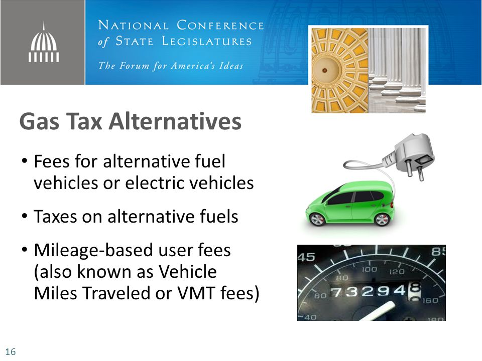 Gas Tax Alternatives Fees for alternative fuel vehicles or electric vehicles Taxes on alternative fuels Mileage-based user fees (also known as Vehicle