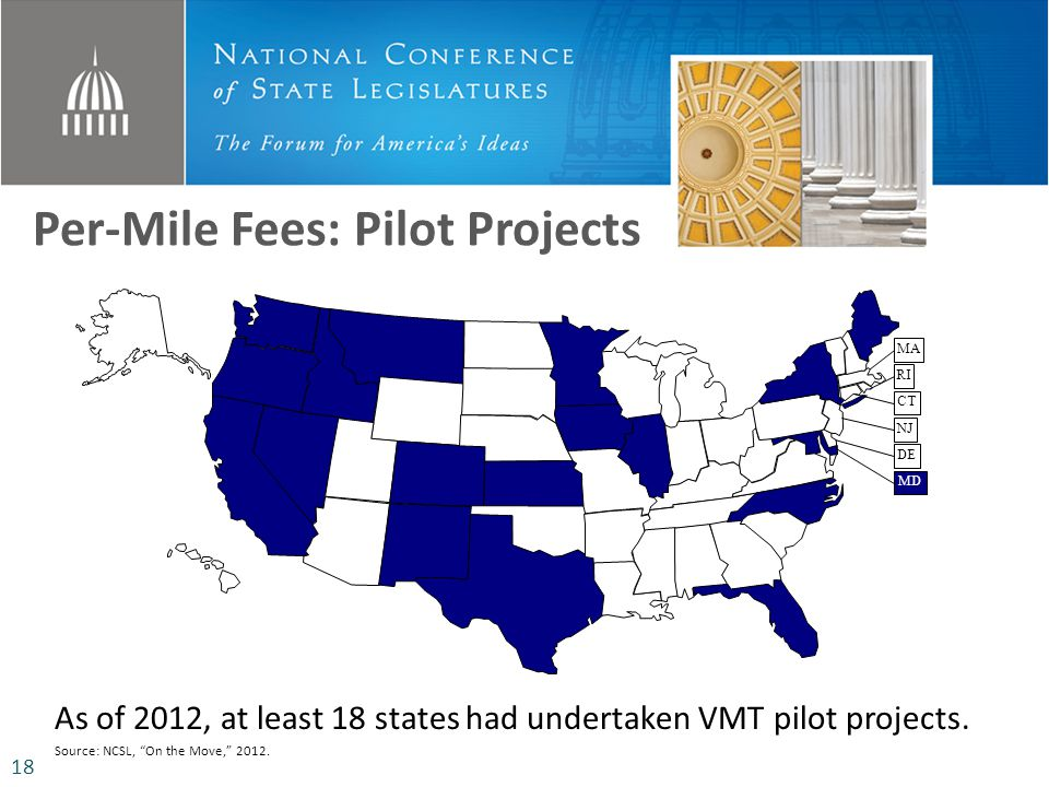 Per-Mile Fees: Pilot Projects MD DE NJ CT RI MA As of 2012, at least 18 states had undertaken VMT pilot projects. Source: NCSL, On the Move, 2012. 18