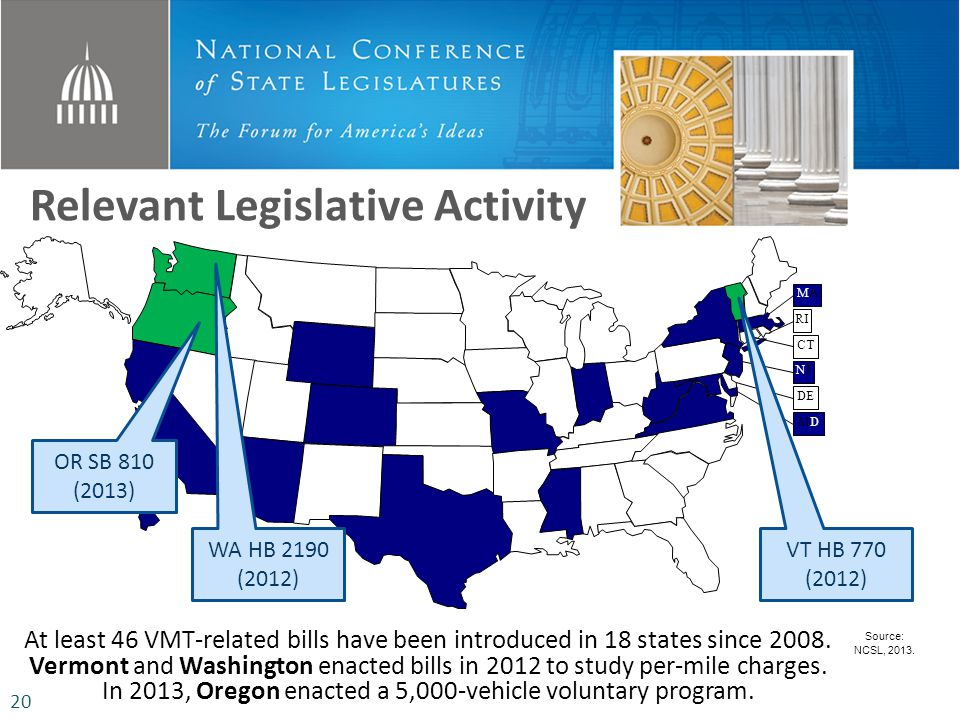 Relevant Legislative Activity At least 46 VMT-related bills have been introduced in 18 states since 2008.