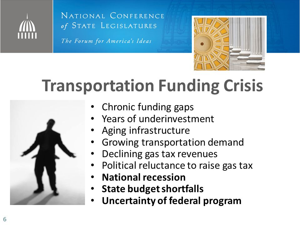 Transportation Funding Crisis Chronic funding gaps Years of underinvestment Aging infrastructure Growing transportation demand Declining gas tax revenues Political reluctance to raise gas tax National recession State budget shortfalls Uncertainty of federal program 6