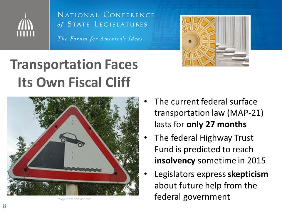 Transportation Faces Its Own Fiscal Cliff Image from ridelust.com The current federal surface transportation law (MAP-21) lasts for only 27 months The federal Highway Trust Fund is predicted to reach insolvency sometime in 2015 Legislators express skepticism about future help from the federal government 8