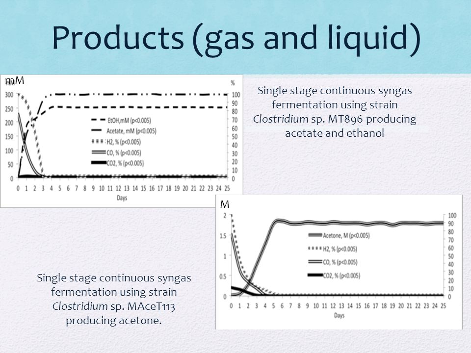 Products (gas and liquid) Single stage continuous syngas fermentation using strain Clostridium sp. MAceT113 producing acetone. Single stage continuous