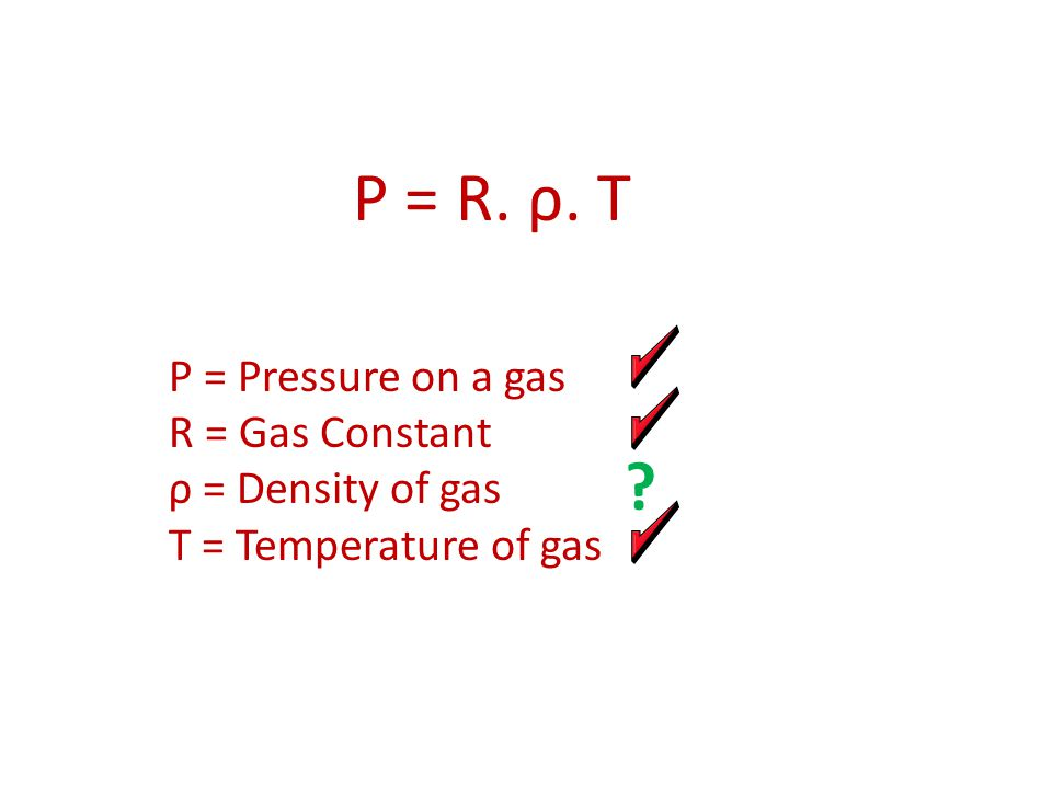 P = R. ρ. T P = Pressure on a gas R = Gas Constant ρ = Density of gas T = Temperature of gas