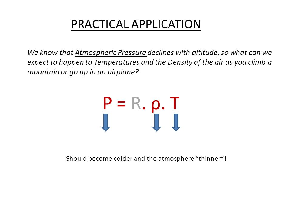 P = R. ρ. T PRACTICAL APPLICATION We know that Atmospheric Pressure declines with altitude, so what can we expect to happen to Temperatures and the De