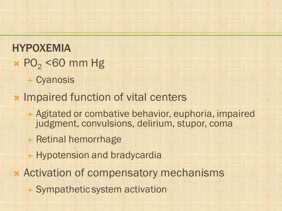 HYPOXEMIA PO 2 <60 mm Hg Cyanosis Impaired function of vital centers Agitated or combative behavior, euphoria, impaired judgment, convulsions, deliriu