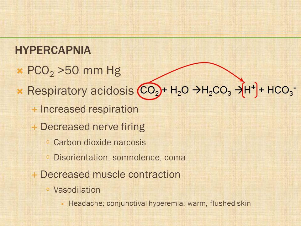 HYPERCAPNIA PCO 2 >50 mm Hg Respiratory acidosis Increased respiration Decreased nerve firing º Carbon dioxide narcosis º Disorientation, somnolence,