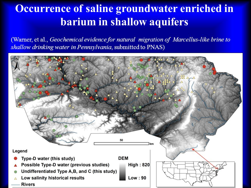 Occurrence of saline groundwater enriched in barium in shallow aquifers (Warner, et al., Geochemical evidence for natural migration of Marcellus-like