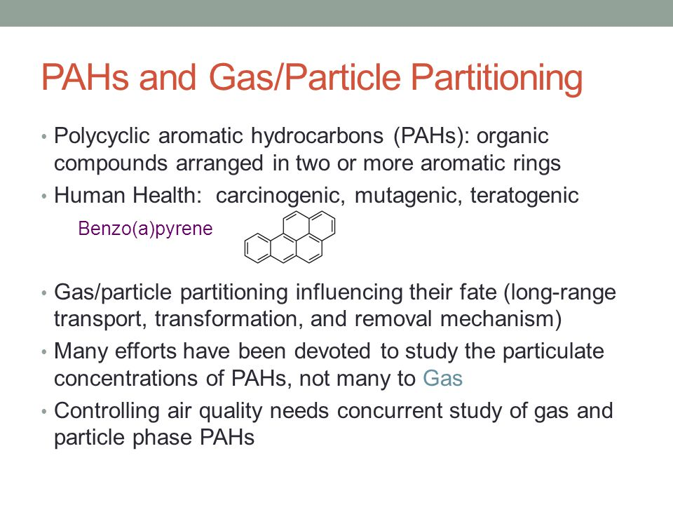 PAHs and Gas/Particle Partitioning Polycyclic aromatic hydrocarbons (PAHs): organic compounds arranged in two or more aromatic rings Human Health: carcinogenic, mutagenic, teratogenic Benzo(a)pyrene Gas/particle partitioning influencing their fate (long-range transport, transformation, and removal mechanism) Many efforts have been devoted to study the particulate concentrations of PAHs, not many to Gas Controlling air quality needs concurrent study of gas and particle phase PAHs