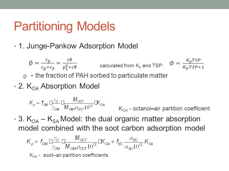 Assessment of Junge-Pankow Model The Junge–Pankow model underestimated the particulate sorption of PAHs Other absorption partitioning mechanisms in addition to surface adsorption