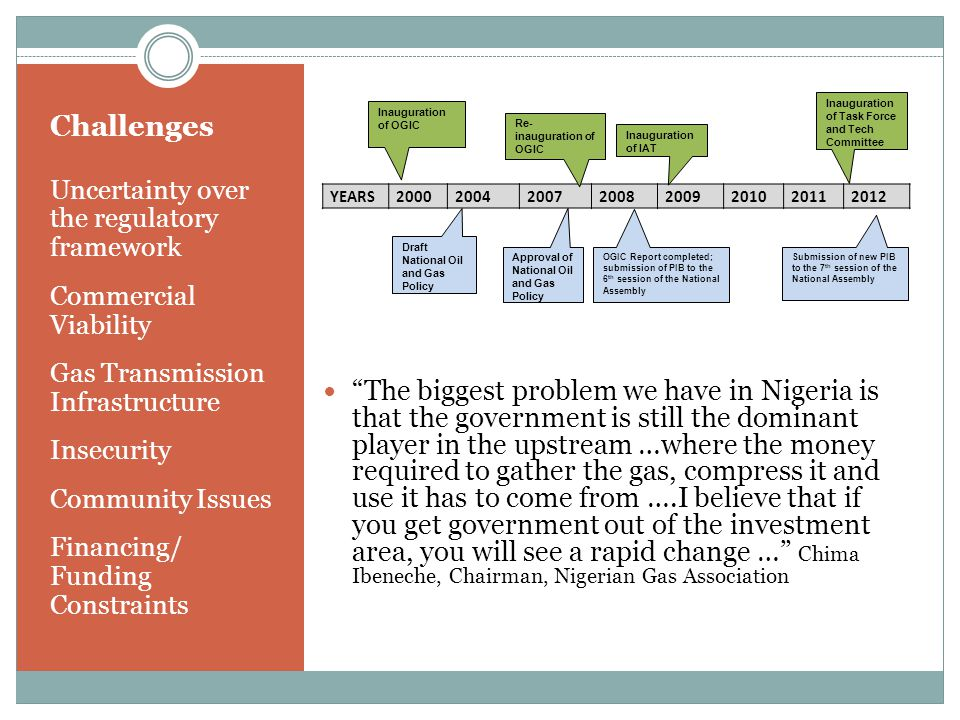 Challenges Uncertainty over the regulatory framework Commercial Viability Gas Transmission Infrastructure Insecurity Community Issues Financing/ Funding Constraints The biggest problem we have in Nigeria is that the government is still the dominant player in the upstream …where the money required to gather the gas, compress it and use it has to come from ….I believe that if you get government out of the investment area, you will see a rapid change … Chima Ibeneche, Chairman, Nigerian Gas Association YEARS Draft National Oil and Gas Policy Approval of National Oil and Gas Policy OGIC Report completed; submission of PIB to the 6 th session of the National Assembly Submission of new PIB to the 7 th session of the National Assembly Inauguration of OGIC Re- inauguration of OGIC Inauguration of IAT Inauguration of Task Force and Tech Committee