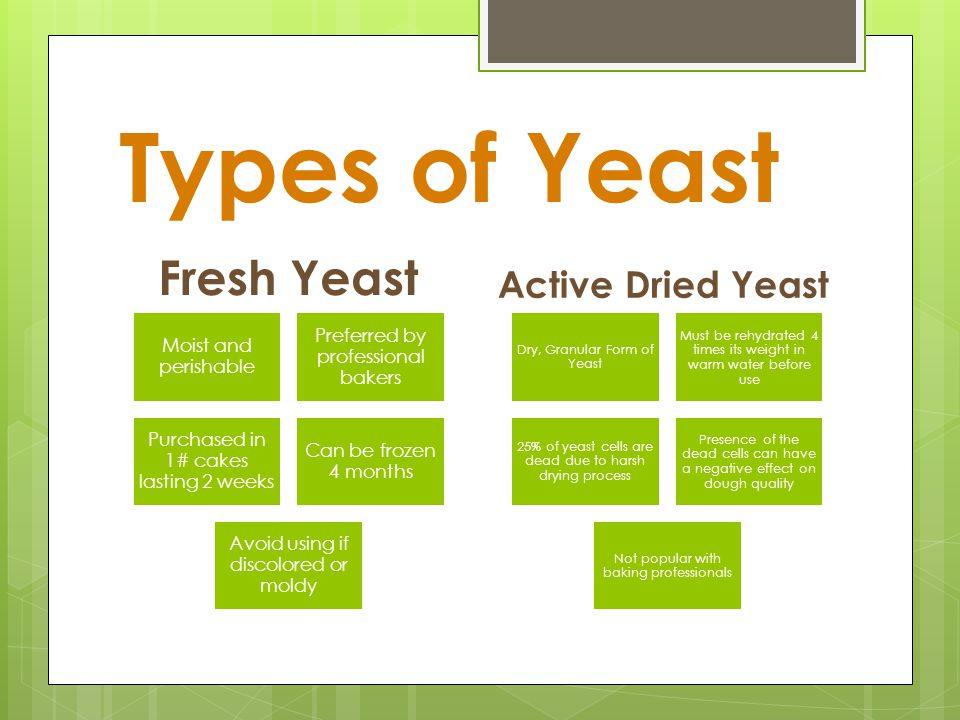Because Yeast is alive, it is Sensitive to Temperatures!!!!!!! 34*FInactive (storage temp.) 60-70*FSlow Action 70-90*FBest Growth (fermentation & Proo