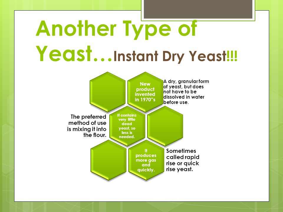 Types of Yeast Fresh Yeast Moist and perishable Preferred by professional bakers Purchased in 1# cakes lasting 2 weeks Can be frozen 4 months Avoid us