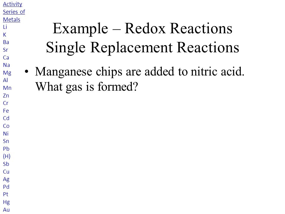 Example – Redox Reactions Single Replacement Reactions Manganese chips are added to nitric acid.