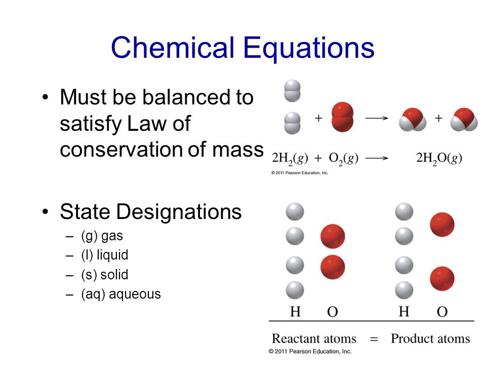 Chemical Equations Must be balanced to satisfy Law of conservation of mass State Designations –(g) gas –(l) liquid –(s) solid –(aq) aqueous