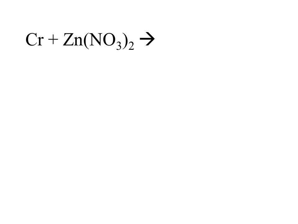 Cr + Zn(NO 3 ) 2