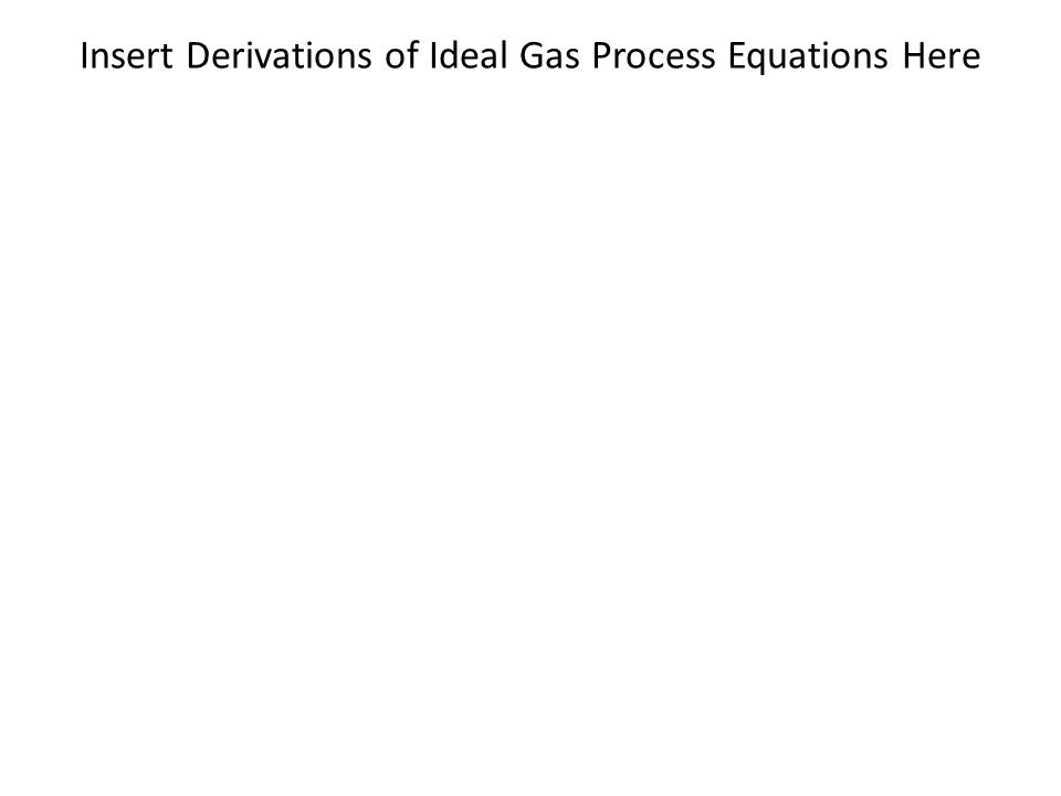 Insert Derivations of Ideal Gas Process Equations Here