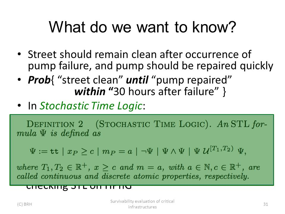 What do we want to know? Street should remain clean after occurrence of pump failure, and pump should be repaired quickly Prob{ street clean until pum