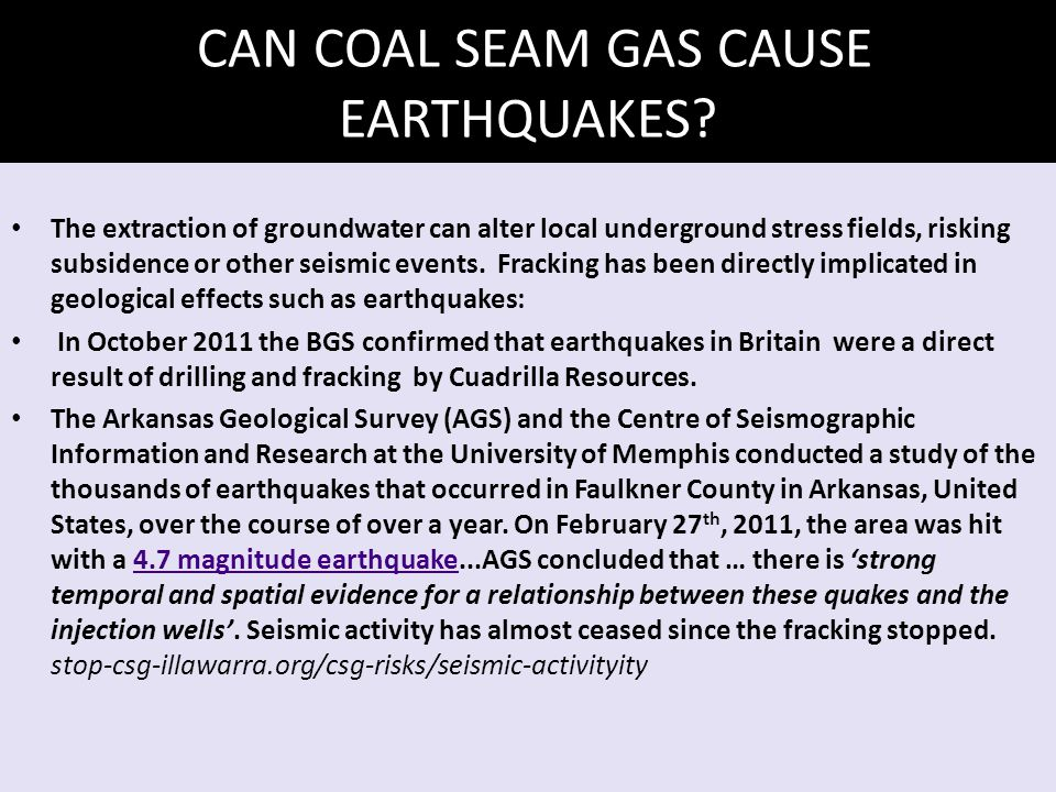 CAN COAL SEAM GAS CAUSE EARTHQUAKES.