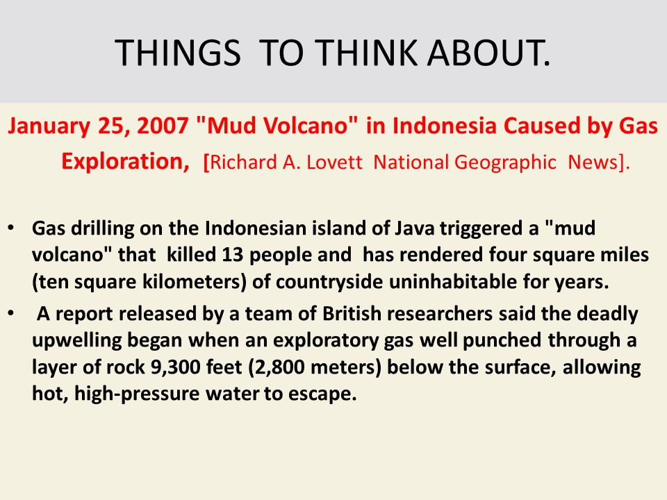 THINGS TO THINK ABOUT. January 25, 2007