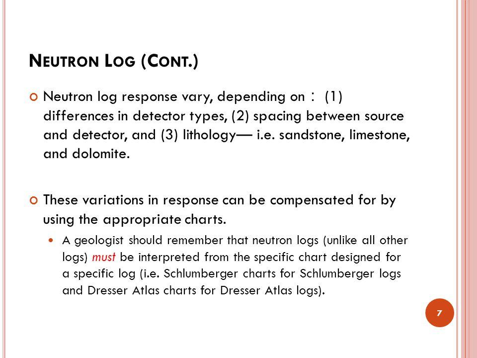 N EUTRON L OG (C ONT.) The first modern neutron log was the Sidewall Neutron Log ( ).